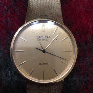 Vintage Gruen Precision gold watch